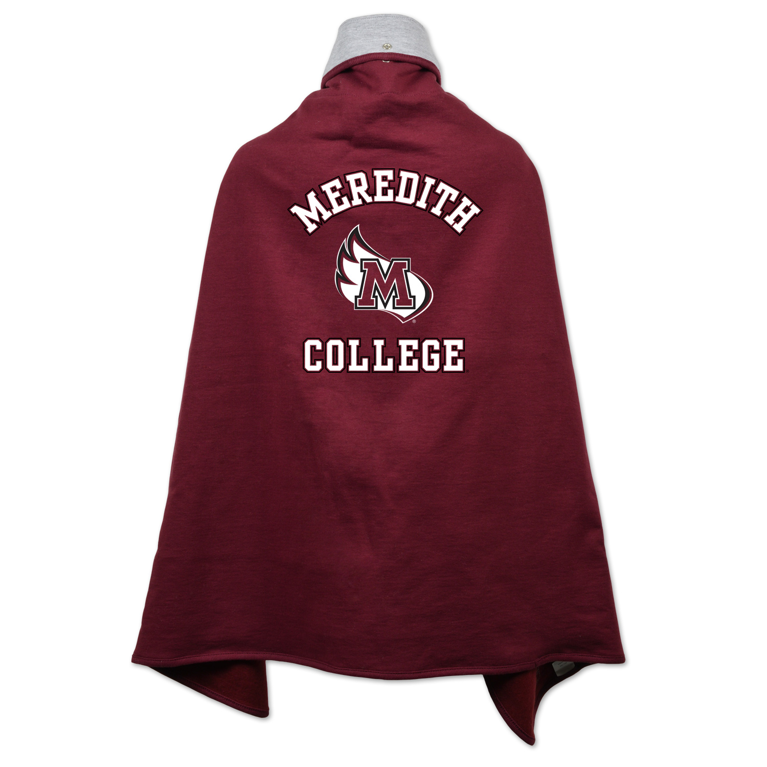Alternative Image for the Cape Drape Maroon Meredith College MWing College Kids product