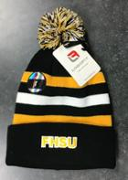 Image for the Youth Cap, Winter Knit + Pom-Pom, Black + Orange, White Stripes, Logofit 4340 product