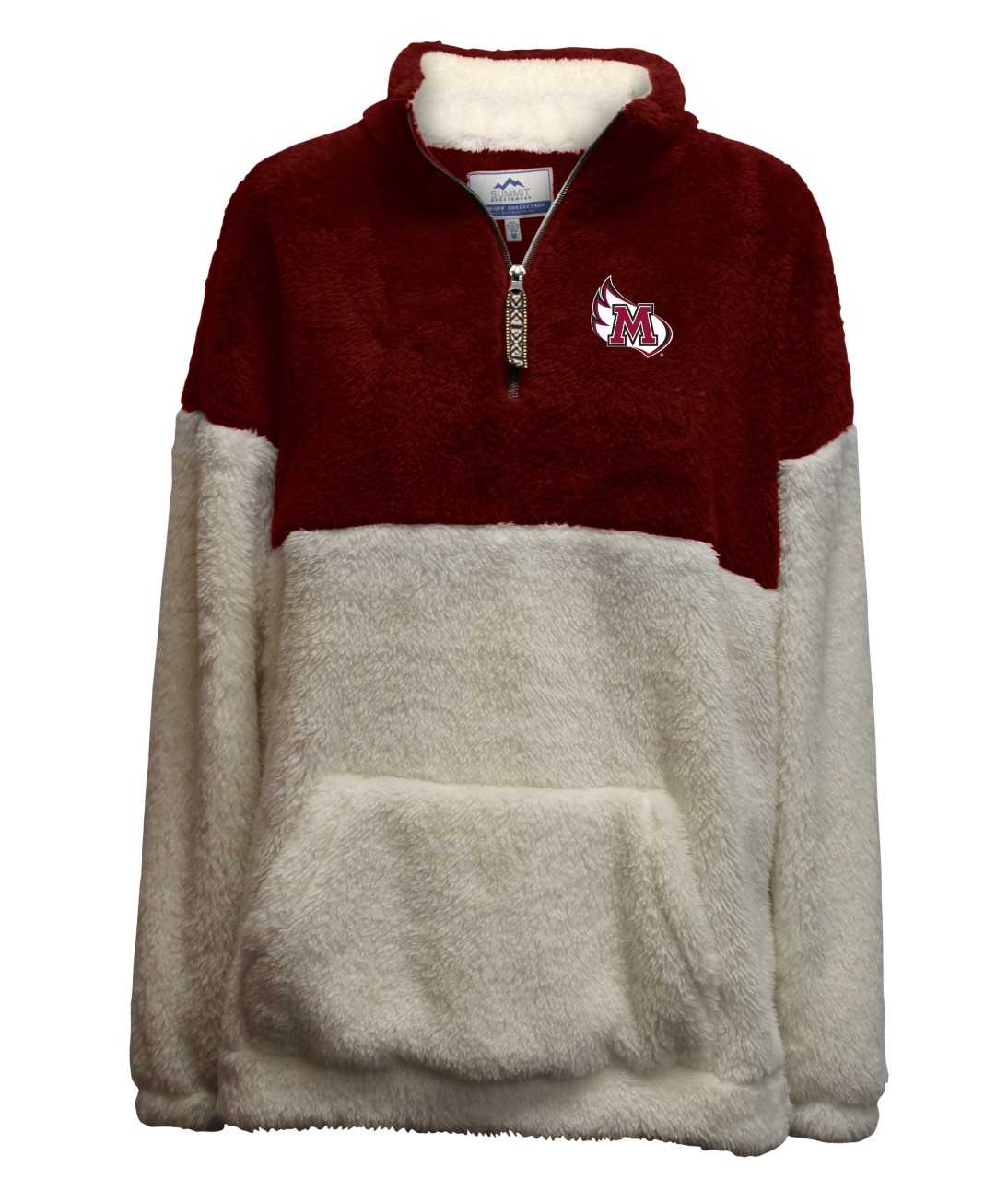 Image for the Double Plush Drop Shoulder 1/4 Zip, Maroon and Cream product