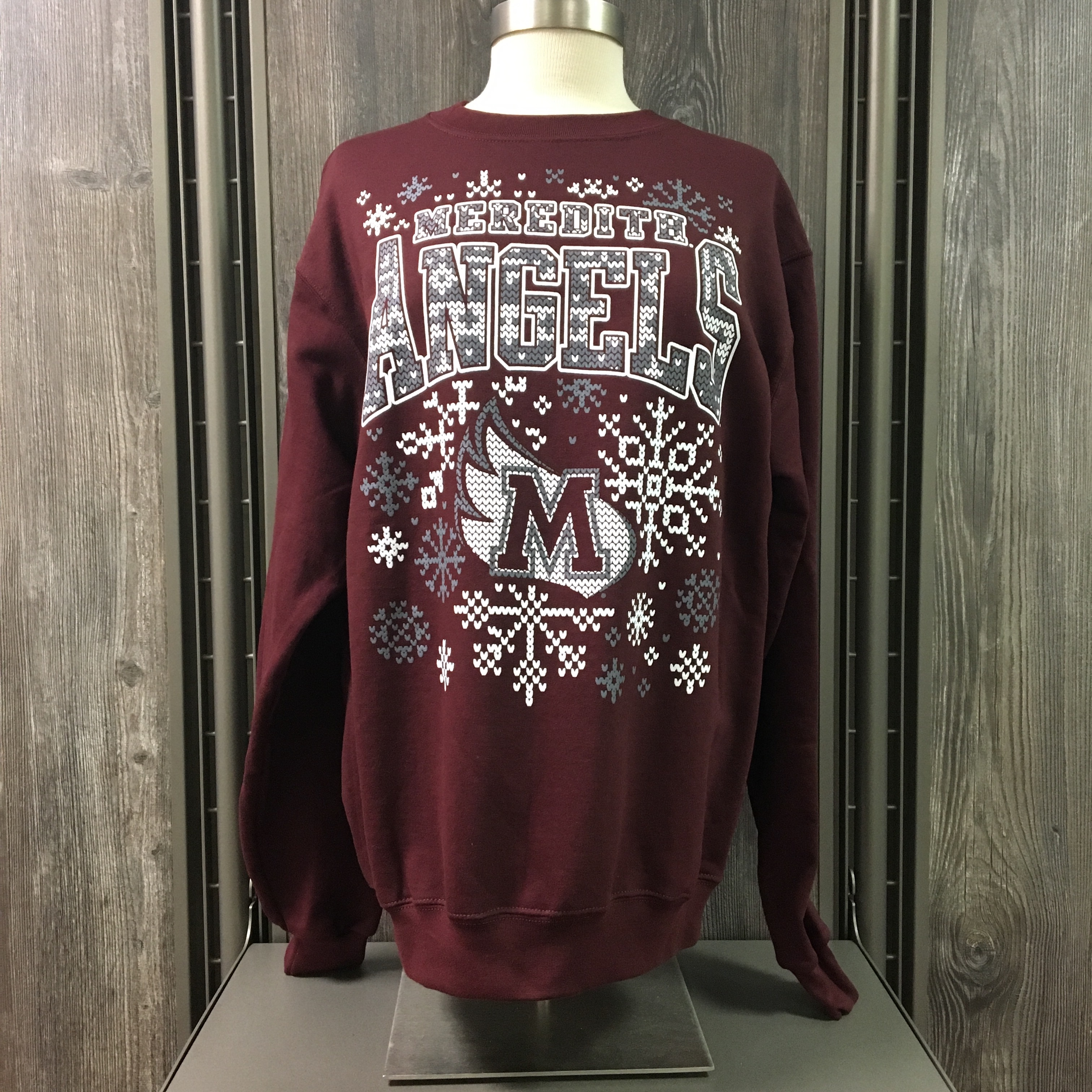 Image for the Ugly Holiday Sweater Maroon Crew Snow Flakes product