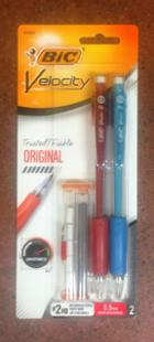 Image for the BIC Velocity 0.9mm Mechanical Pencils, w/ extra Lead & Erasers, 2/pk product
