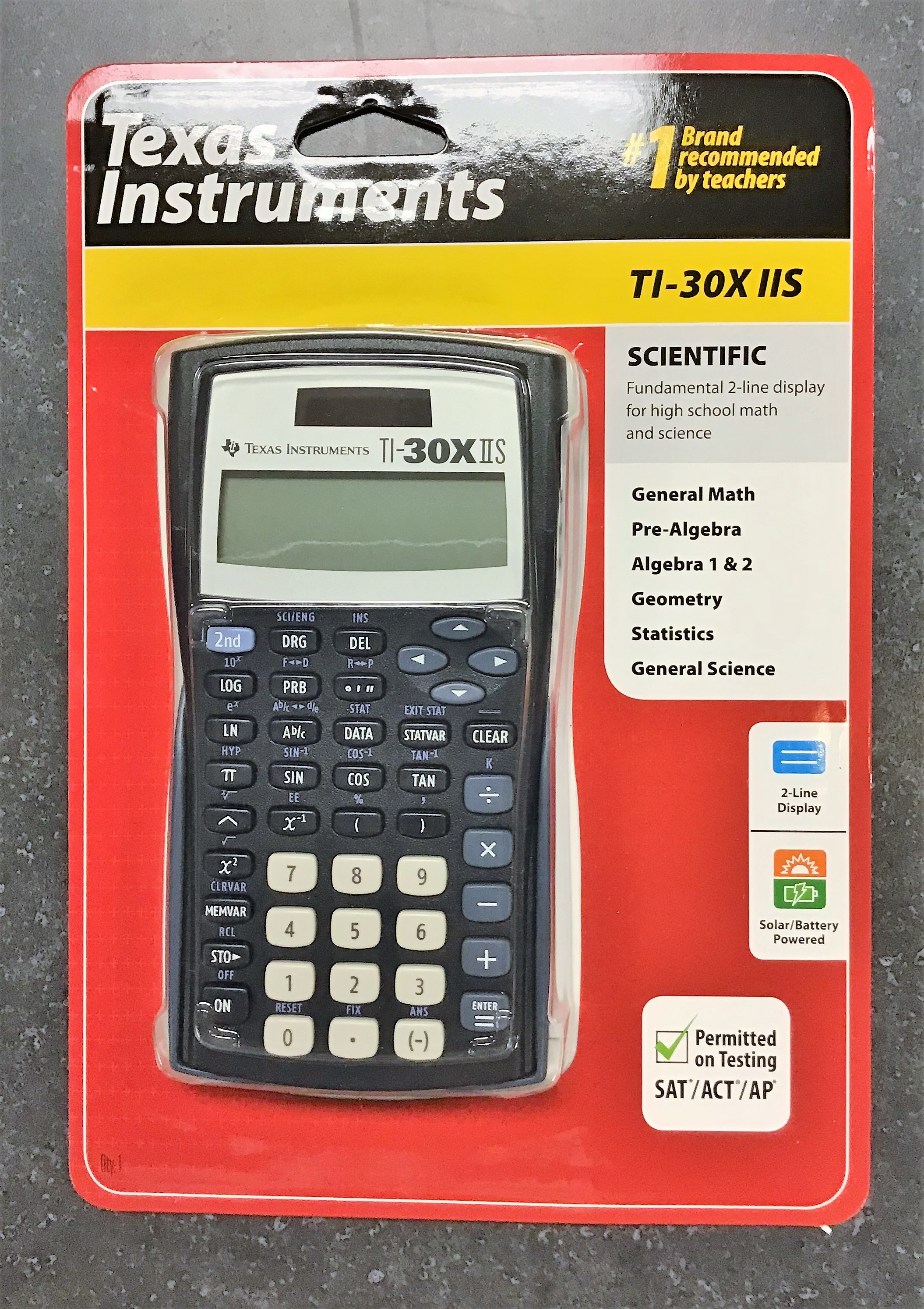 Image for the Texas Instruments Scientific Calculator, TI-30X IIS, 2-Line Display, Solar and Battery Powered, 000096899 product