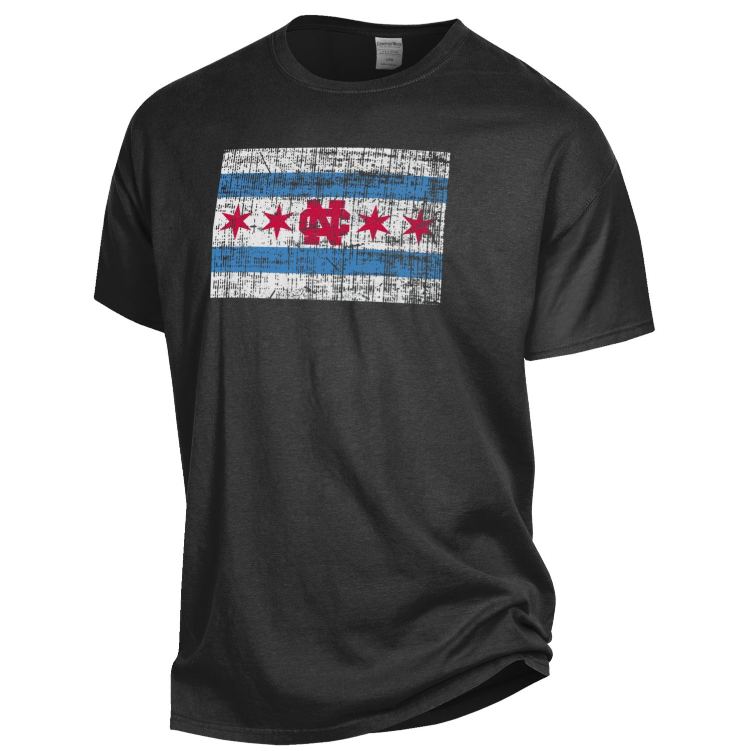 Image for the Chicago Flag Comfort Wash Short Sleeve Tee Shirt product