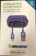 Image for the OnHand 5ft Purple Nylon Charge and Sync Cable with Lightening Connector product