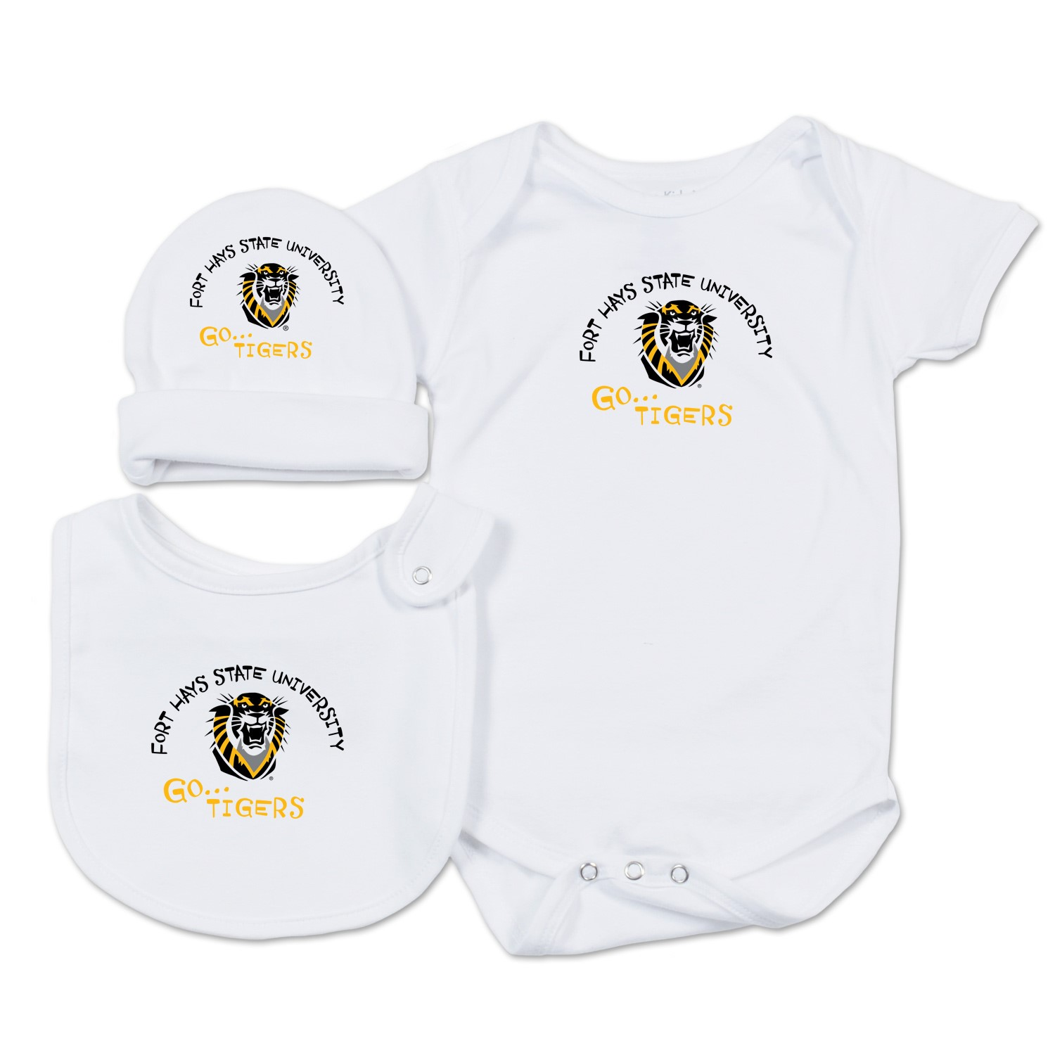Image for the Fort Hays State University Baby Essentials Set, White, College Kids product