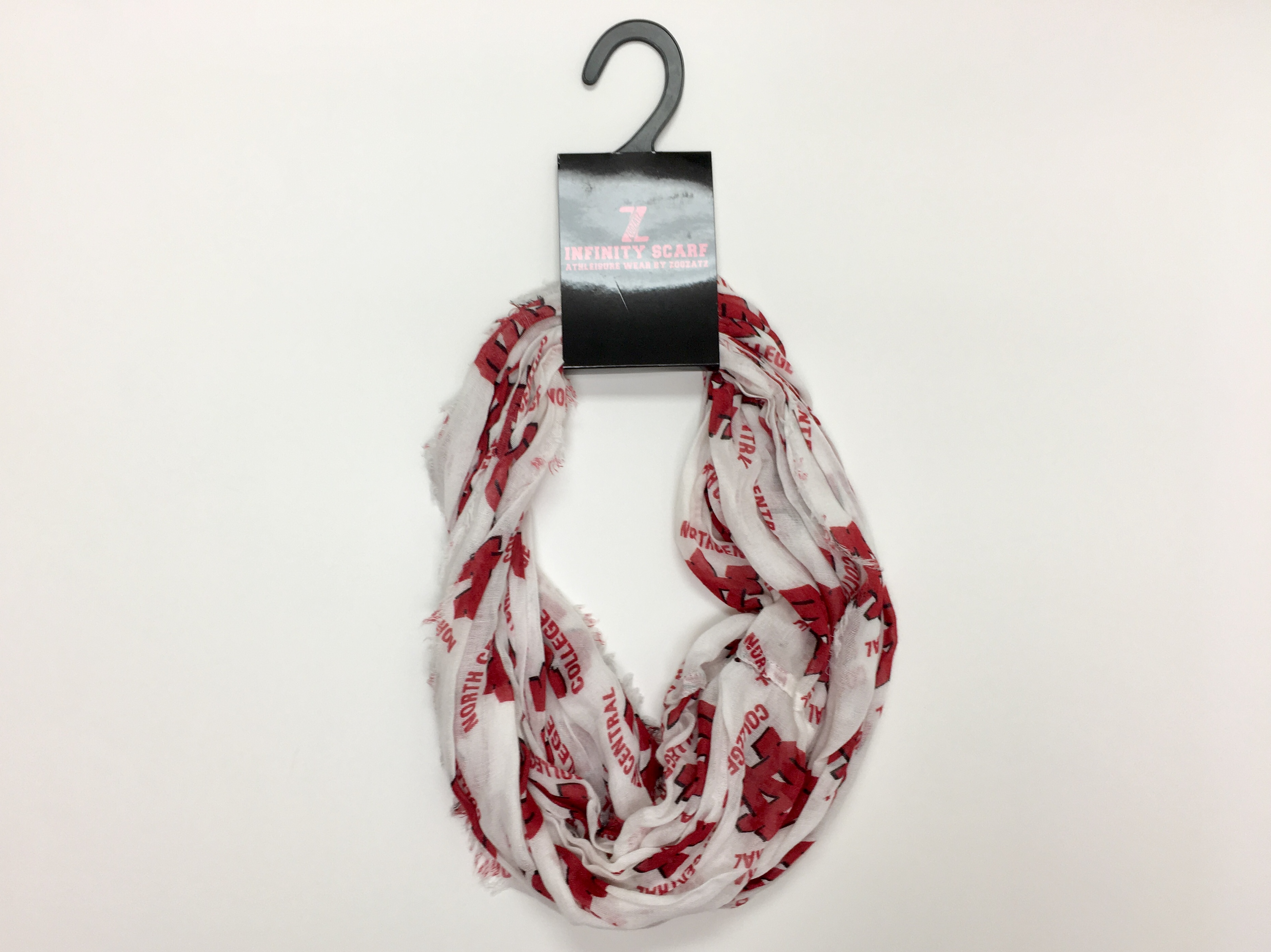 Image for the ZOOZATZ Infinity Scarf White w/Red Logo product