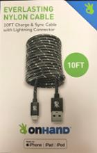 Image for the OnHand Black Everlasting  Nylon 10ft Cable with Lightening Connector product