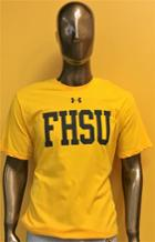 Image for the UA Short Sleeve Shirt, Steeltown Gold Performance Cotton, UA Logo over FHSU, Under Armour product