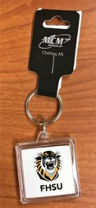Image for the Key Chain Square Acrylic with Tiger and FHSU MCM product
