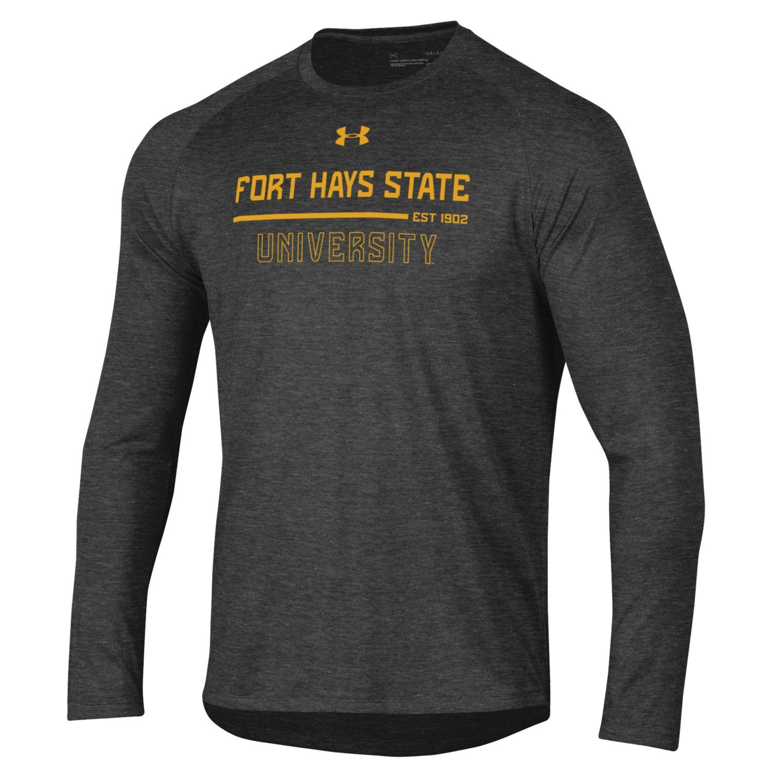 Image for the Fort Hays State University 1902 Tech Long Sleeve Tee, Carbon Heather, Under Armour product
