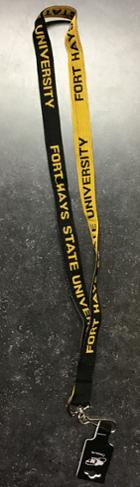 Image for the Lanyard 2-sided Woven Black & Gold w/clip MCM product