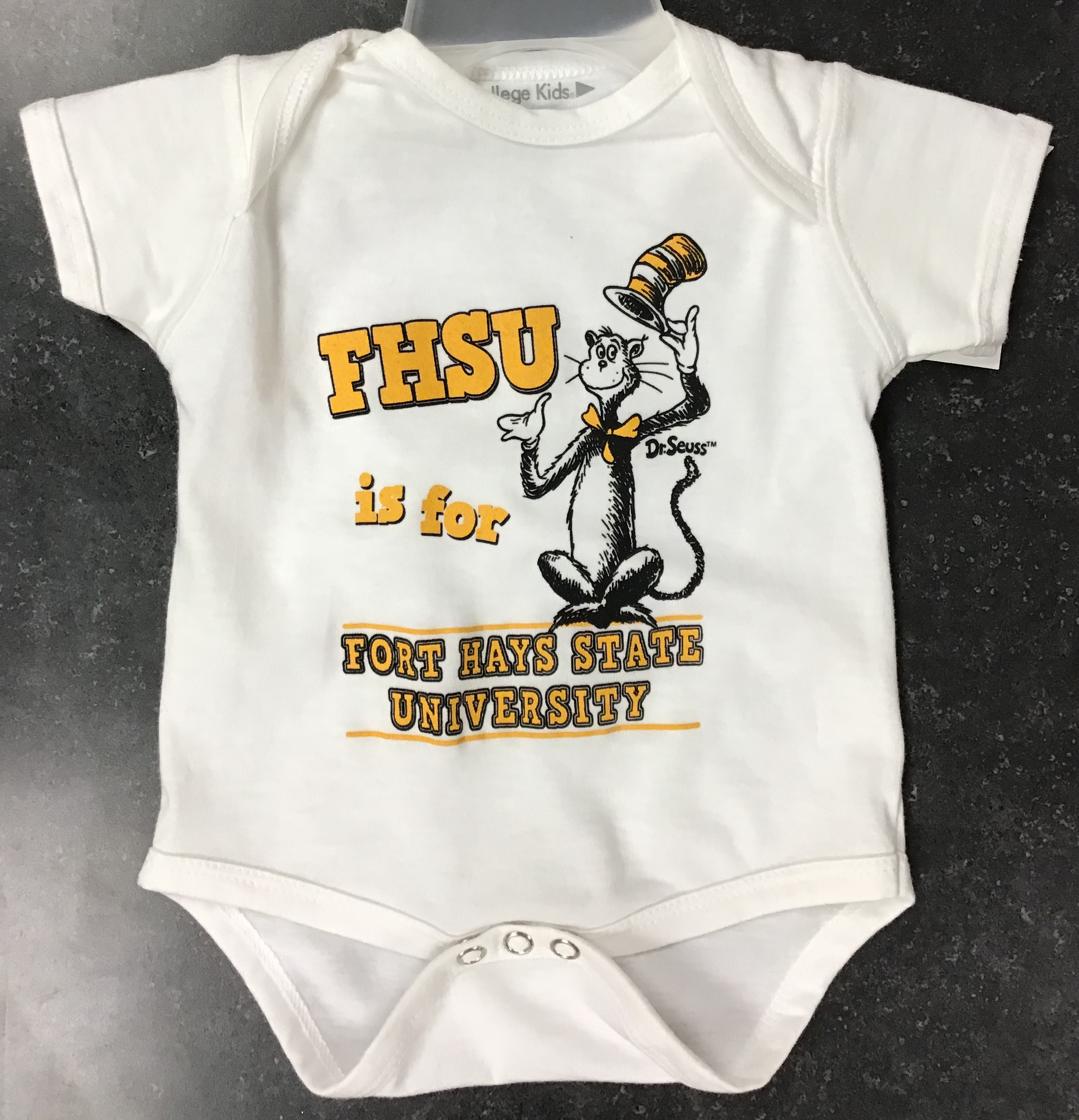 Image for the Dr. Seuss Onesie, White, College Kids 10802 product