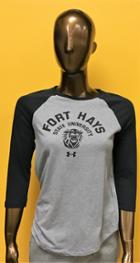 Image for the UA Women's Charged Cotton Baseball Tee, Gray with Black Sleeves, Fort Hays State University over Mascot, Under Armour product