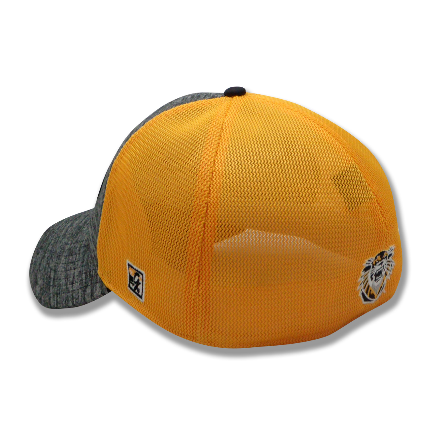 Alternative Image for the Tigers FHSU Athletic Heather and Diamond Mesh Stretch-Fit Hat, Black Heater Gold Mesh, The Game product