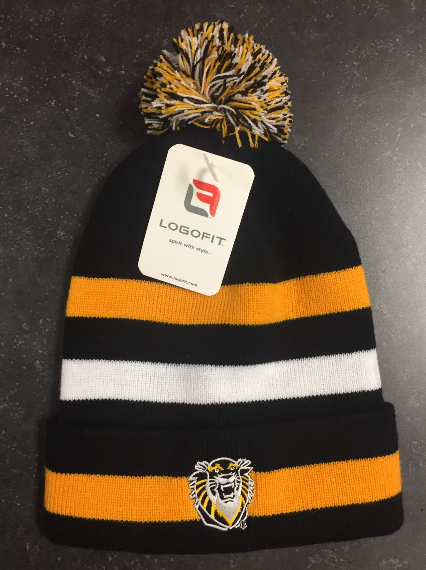 Image for the Knit Cuffed Hat with Pom, Black/Gold/White, 4109, 6/80, OSFM, product