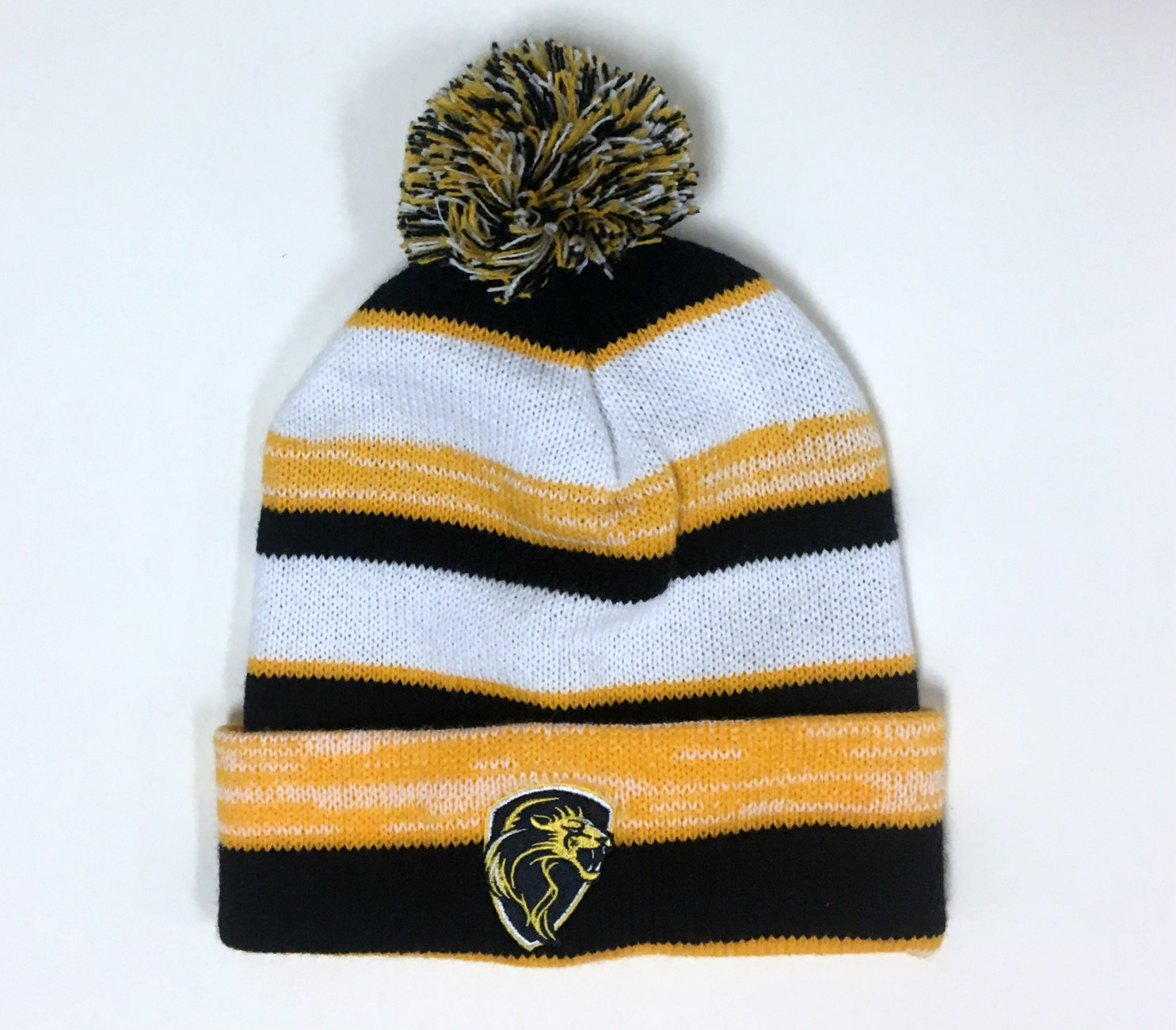 Image for the Cuff Beanie Knit Hat w/Pom Navy & Gold product