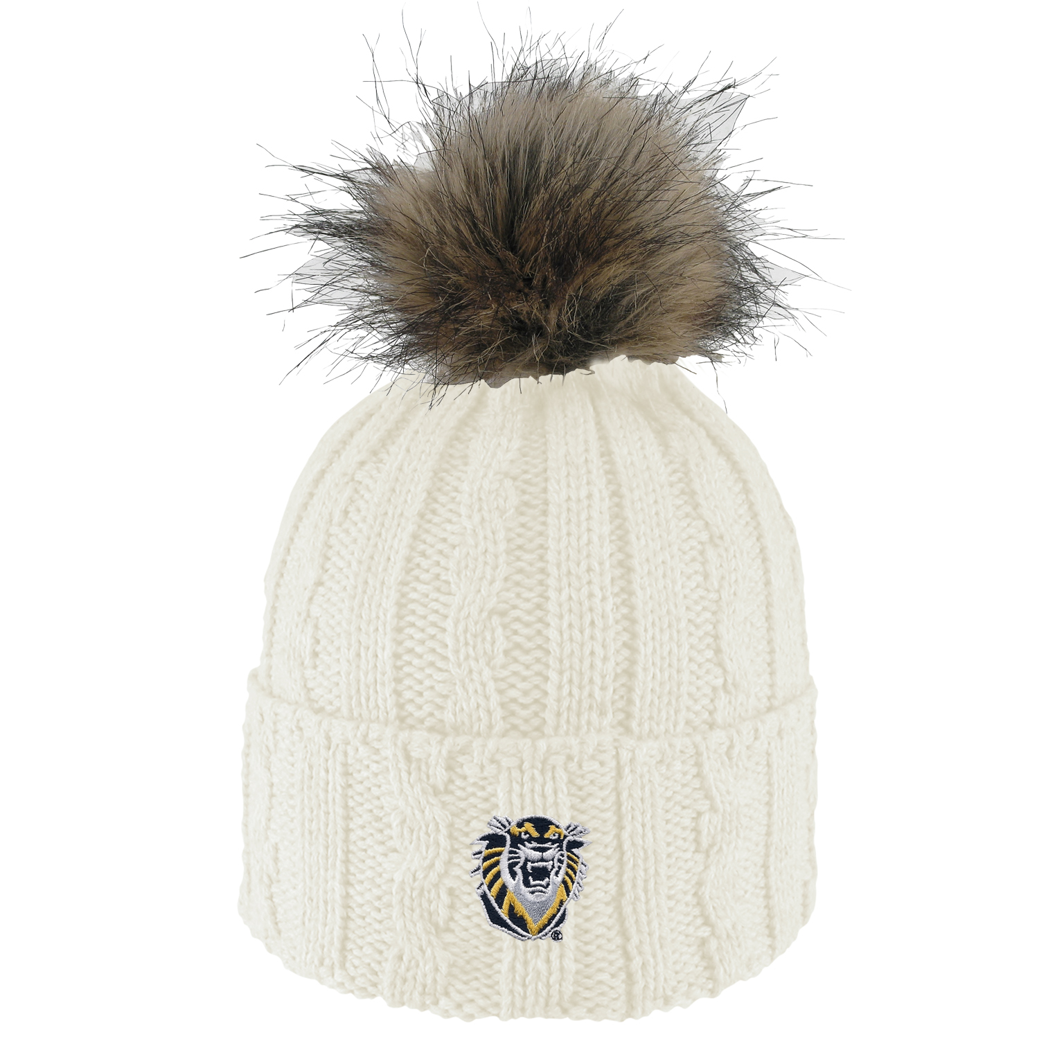 Image for the Knit Cuff Hat with Faux Fur and Pom product