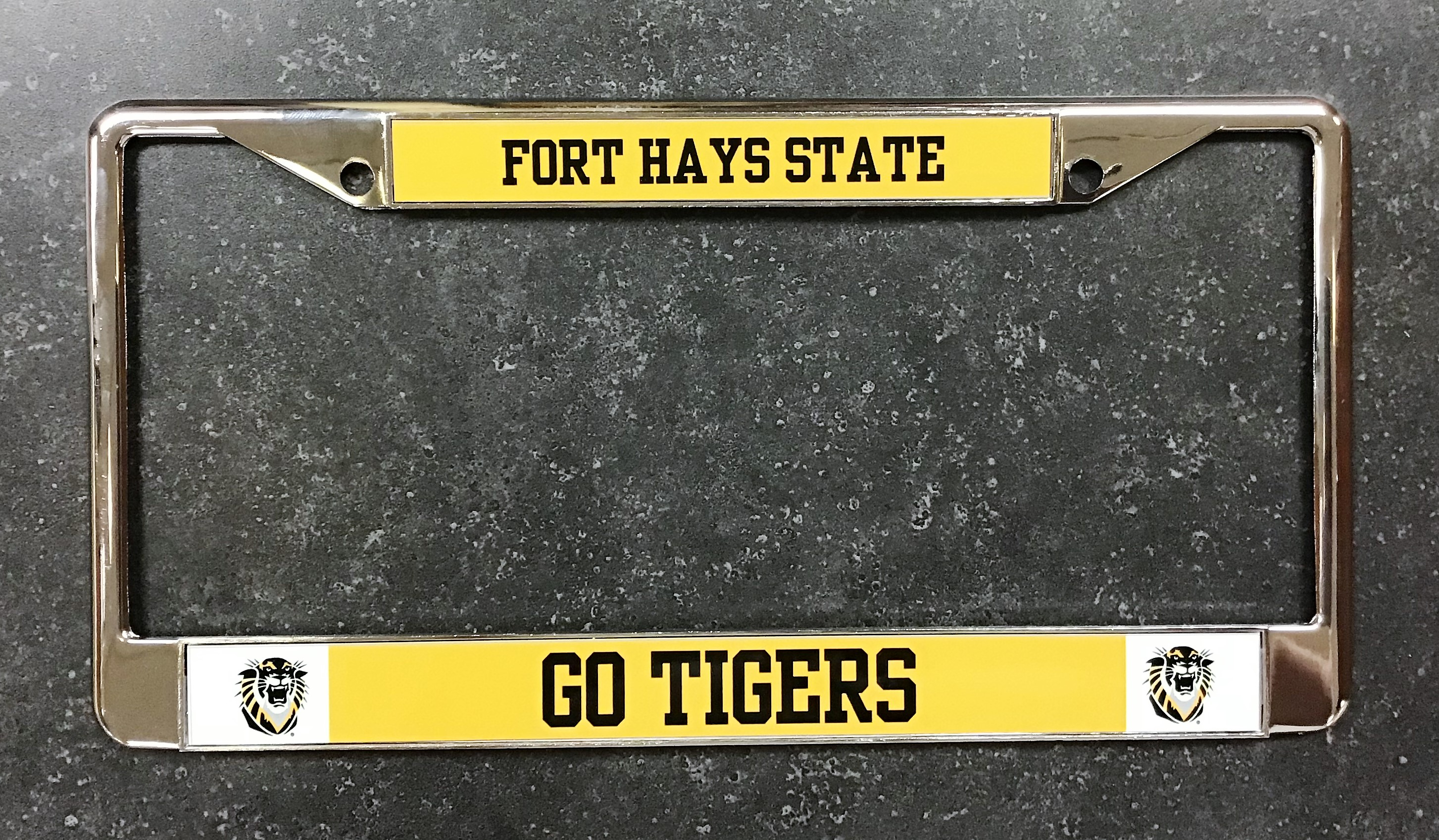 Image for the License Plate Frame Chrome with Black & Gold product