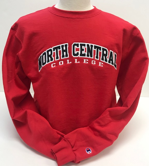 Image for the North Central College Powerblend Red Crew Neck Sweatshirt (Embroidered) by Champion product