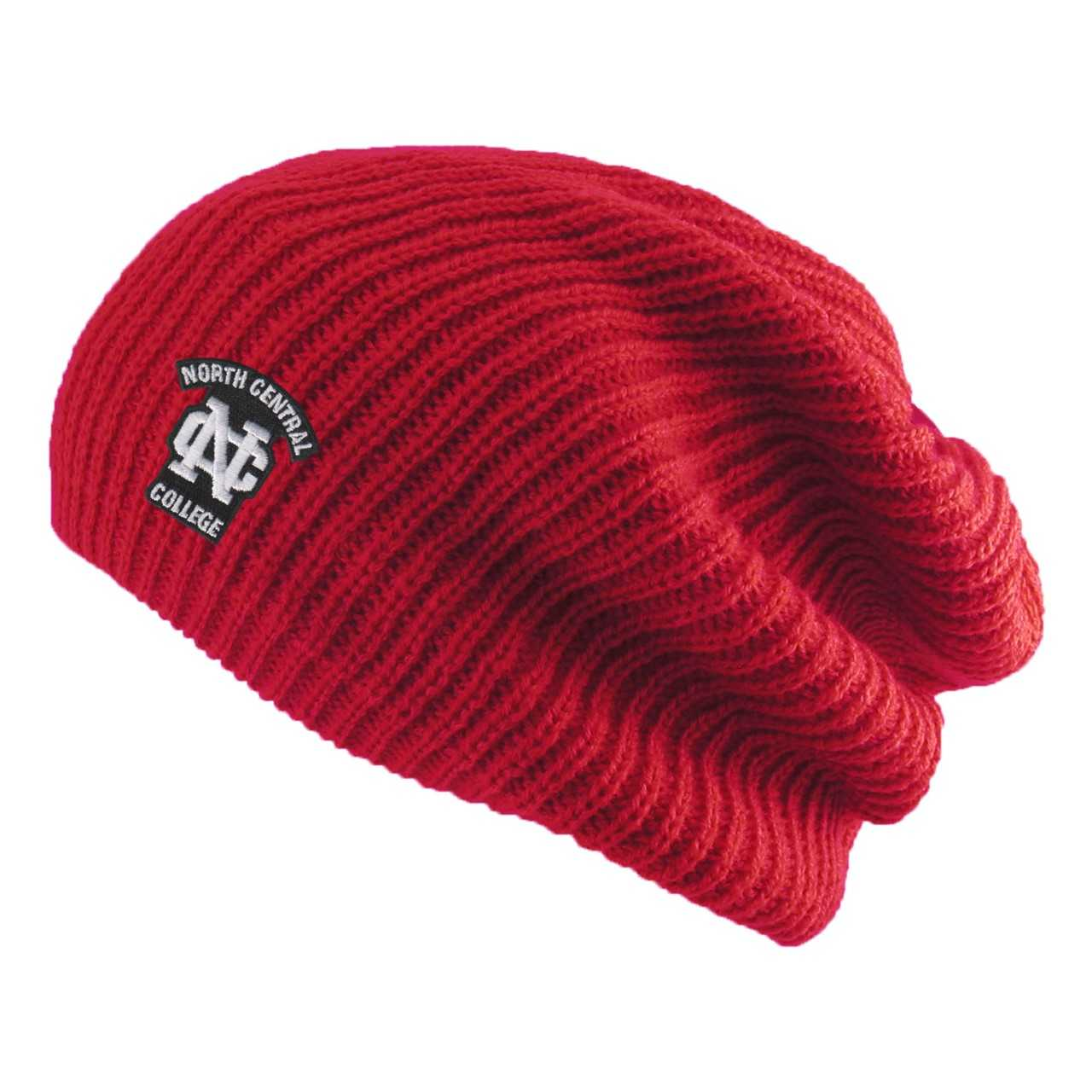 Image for the North Central College Red Hipster Logofit Knit Slouchy Hat product