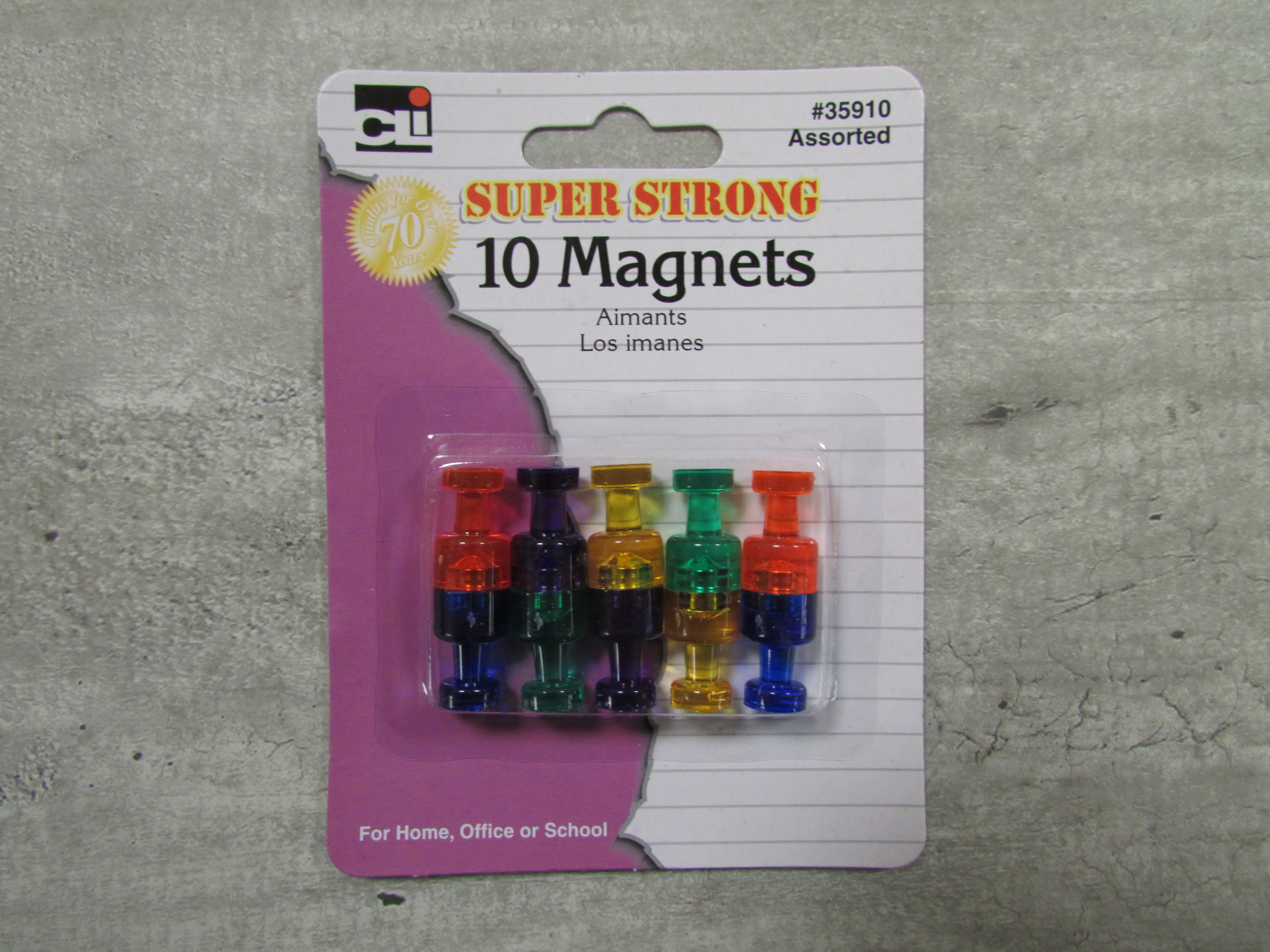 Image for the Magnets, Super Strong, Asst. Colors 10/pk product