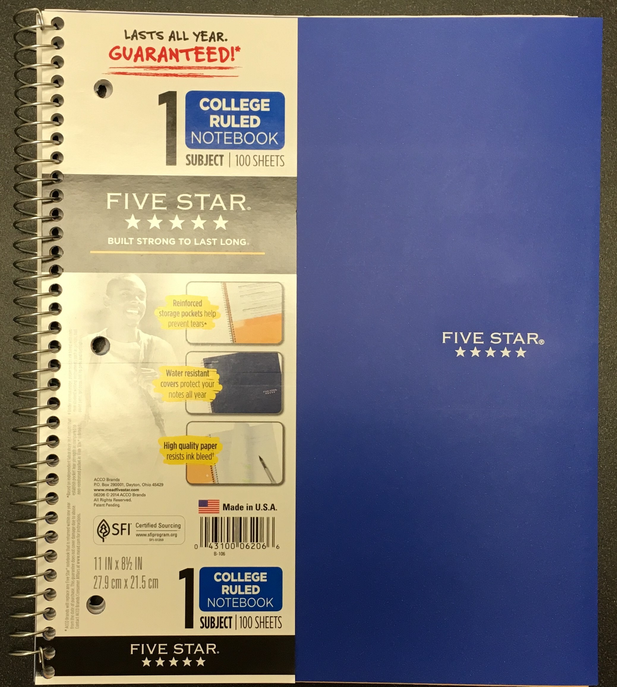 Image for the Five Star 1 Subject Notebook Multiple Colors product