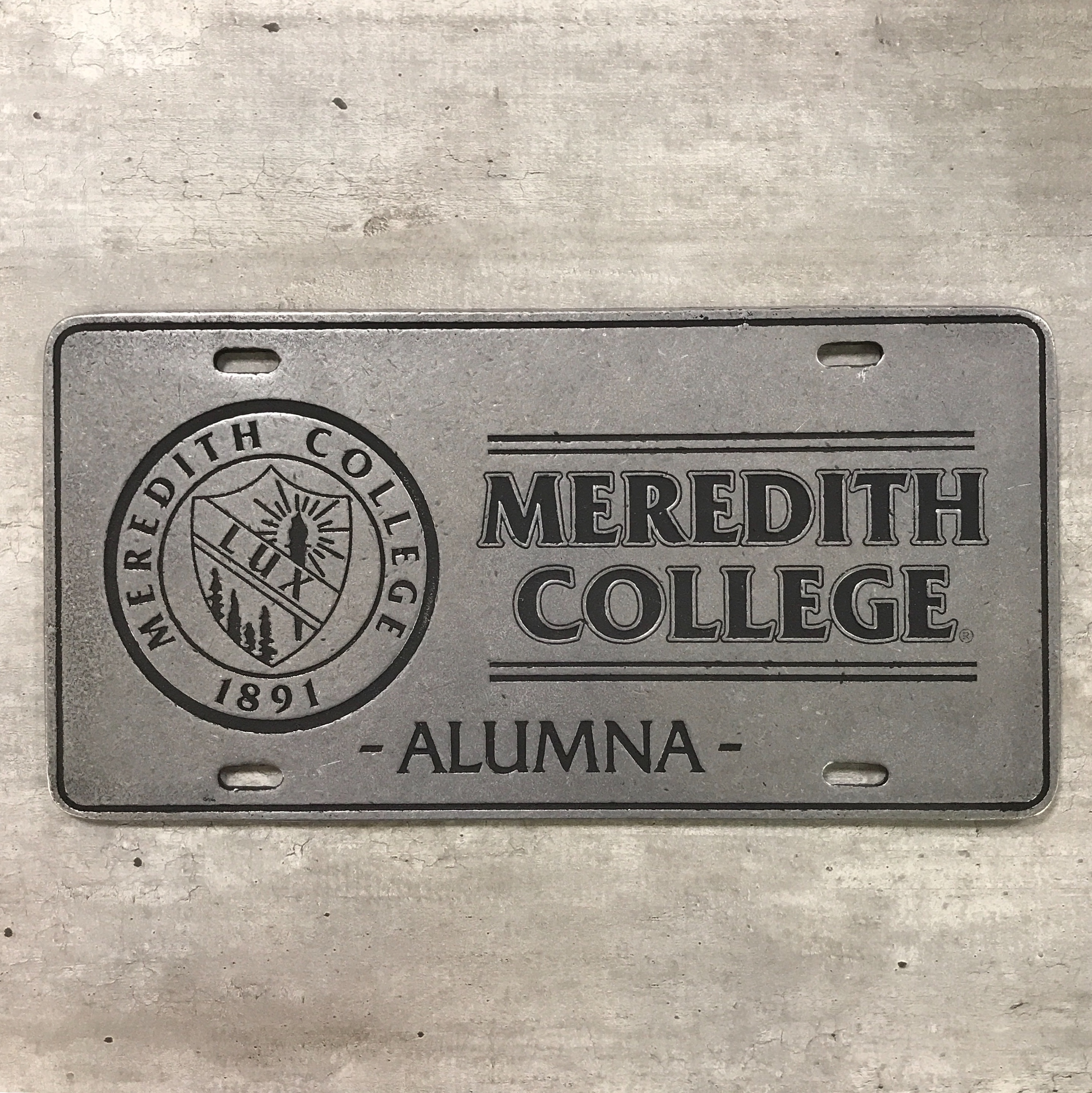 Image for the License Plate, Meredith College Alumna + Seal, Metal product