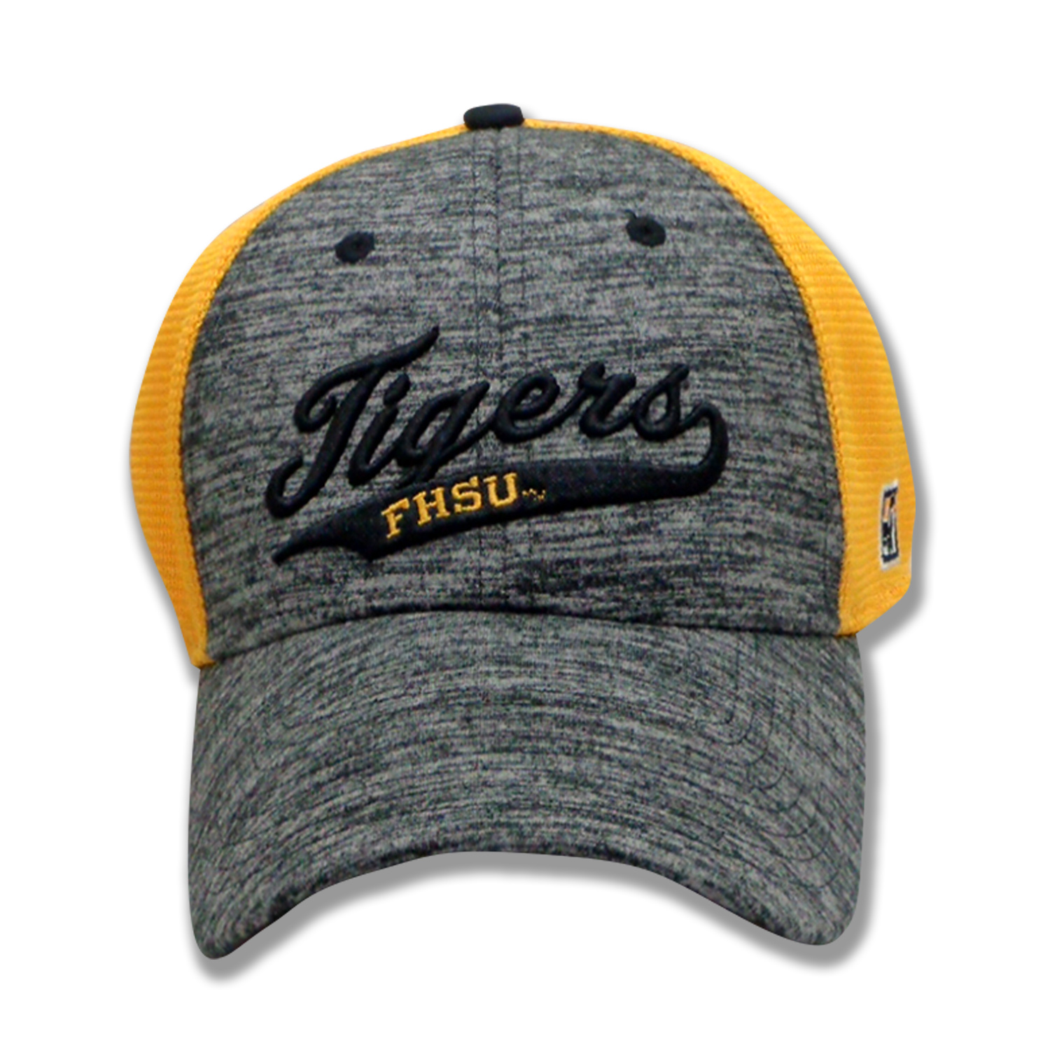 Image for the Tigers FHSU Athletic Heather and Diamond Mesh Stretch-Fit Hat, Black Heater Gold Mesh, The Game product
