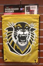 "Image for the Doubleheader String Backpack, Two-Sided, 18""x13"", Logo Brands, Black/Gold, C2827-87D product"