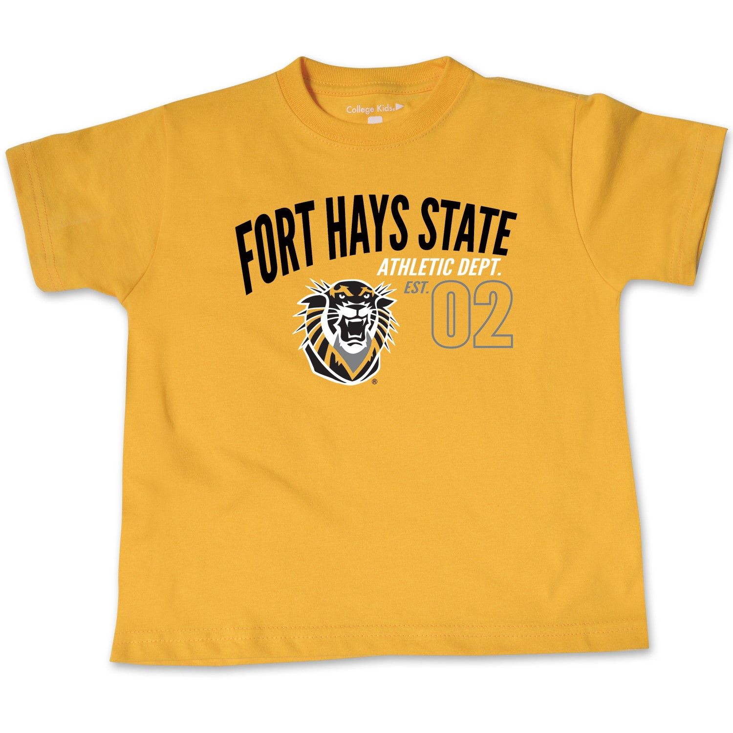 Image for the Toddler Short Sleeve Tee, Fort Hays State Athletic Dept. Est. 02, Athletic Gold, College Kids product