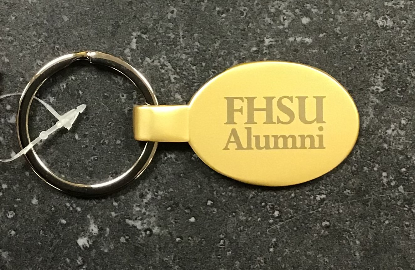 Image for the FHSU Oval Metal Keychain, Shiny Gold product