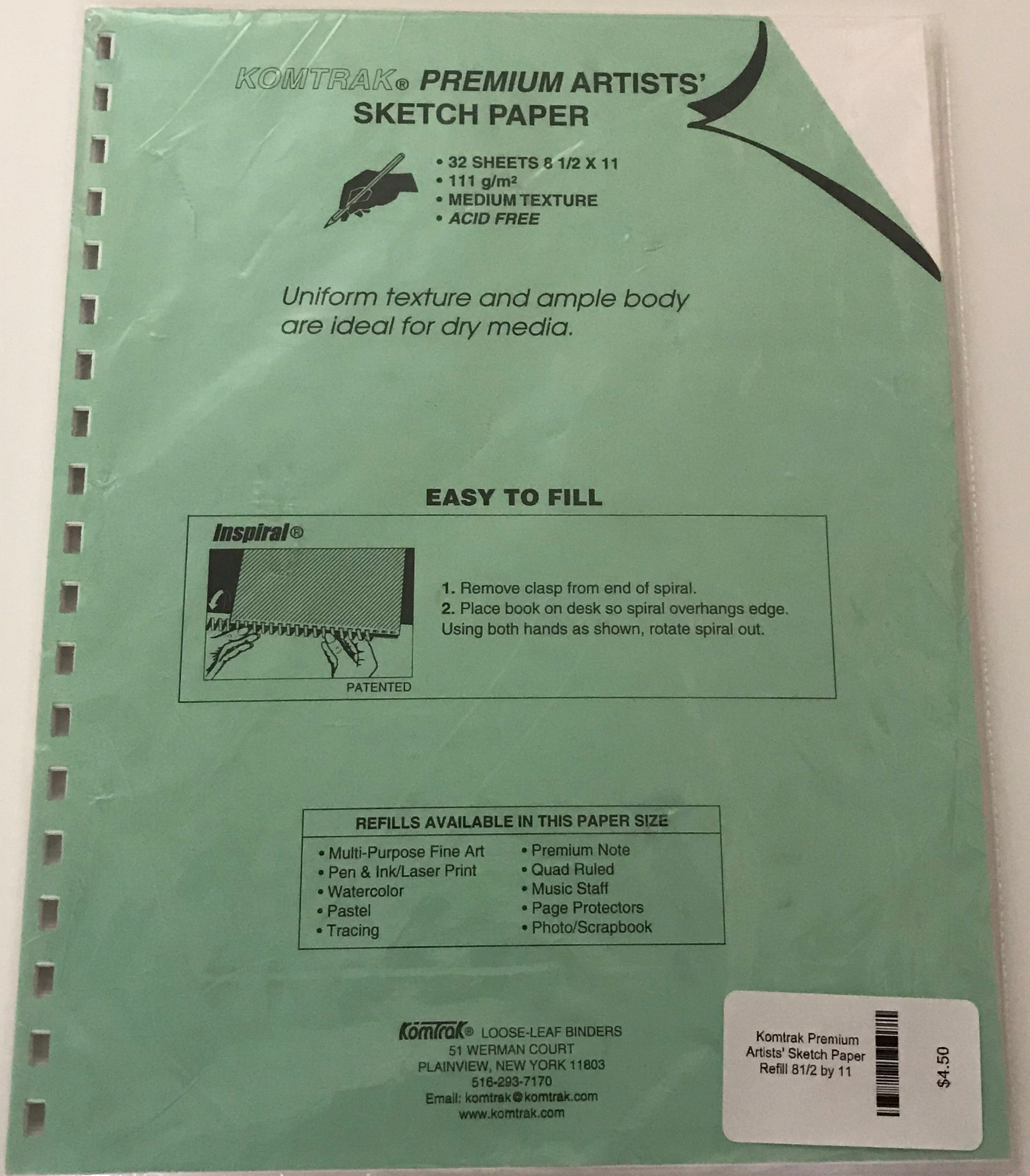 Image for the Komtrak Premium Artists' Sketch Paper Refill 8 1/2 x 11 product