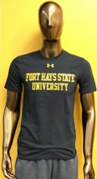 Image for the UA Short Sleeve Tee, Black Performance Cotton, Fort Hays State University in Gold, Under Armour product