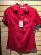 Image for the Ladies Red Fitted SS Button-Up product
