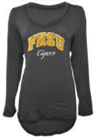 Image for the FHSU Tigers Women's Distressed Long Sleeve Valerie V-Neck, Graphite, U-Trau product