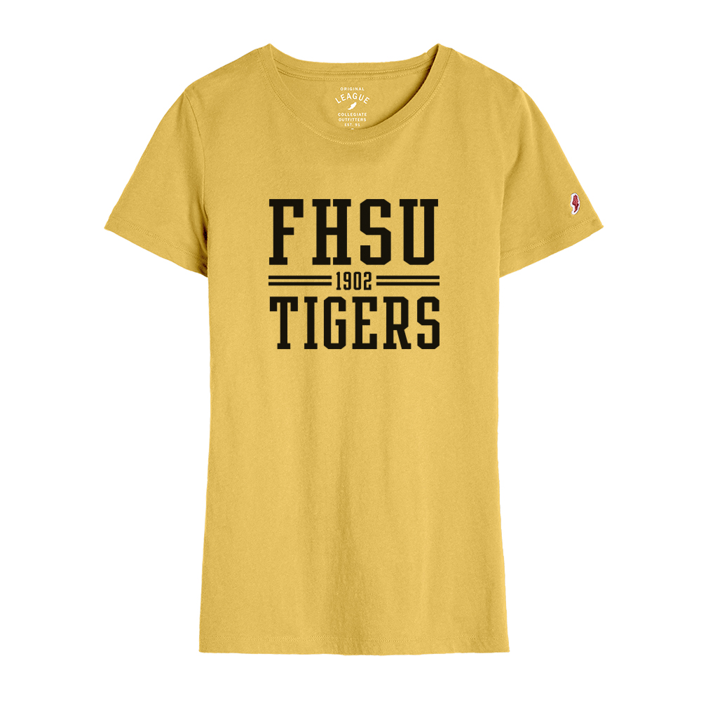 Image for the Women's Athletic Gold Freshy Tee W/ FHSU 1902 Tigers, League product