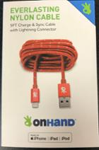 Image for the OnHand 5ft Red Nylon Charge and Sync Cable w/ Lightening Connector product