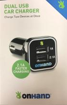 Image for the OnHand Black Dual USB Car Charger product