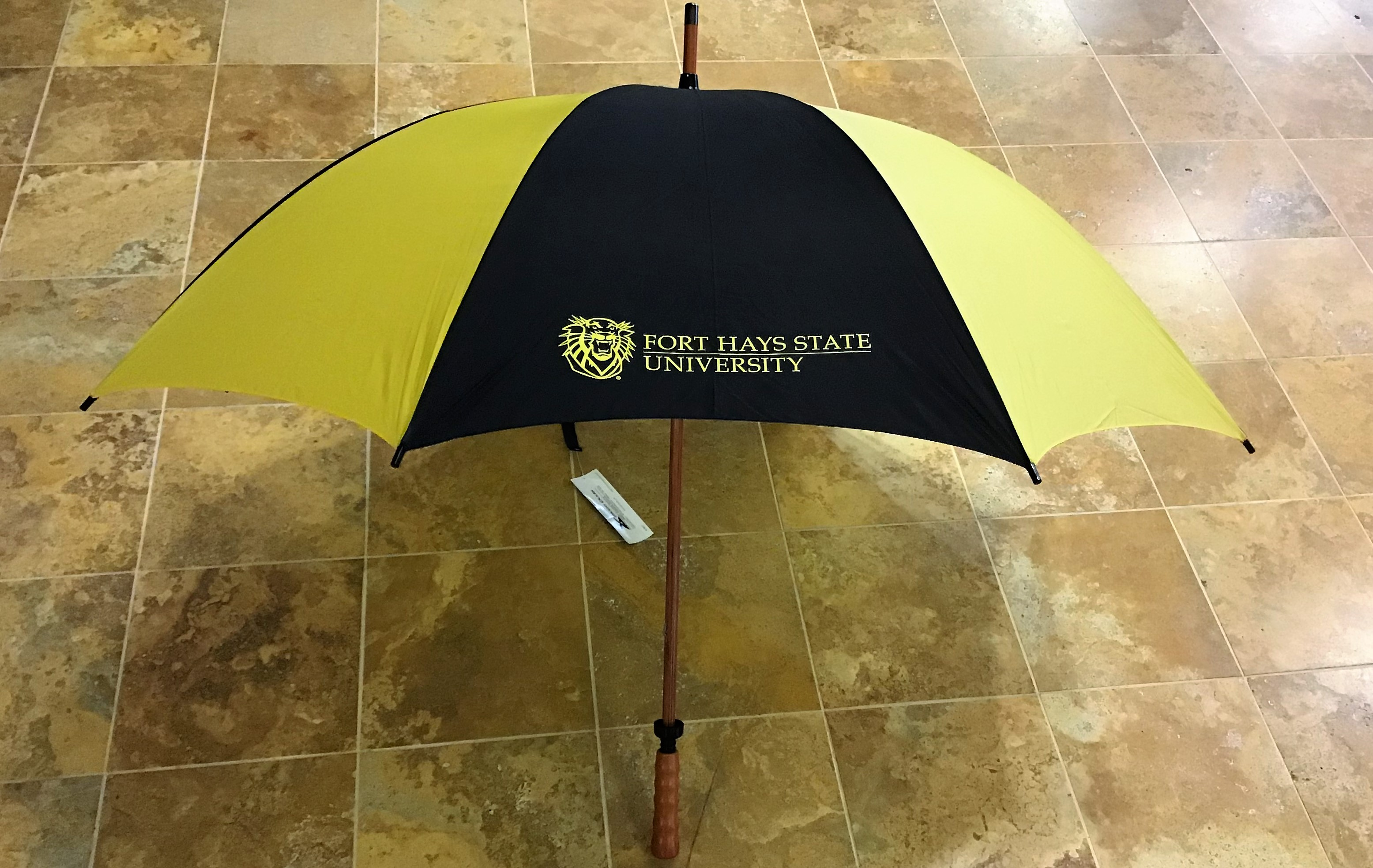 Image for the Golf Umbrella Black & Gold with Wood Shaft product