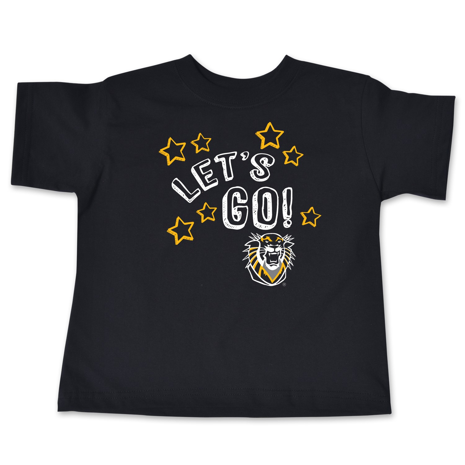 Image for the Toddler Short Sleeve Tee, Let's Go! Stars with Mascot, Black, College Kids product