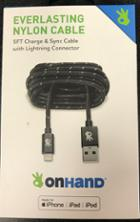 Image for the OnHand 5ft Black Nylon Charge and Sync Cable w/ Lightening Connector product