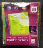Image for the Avery Corner Lock Three Pocket Binder Pockets, 3-Pack, Item# 75312, product