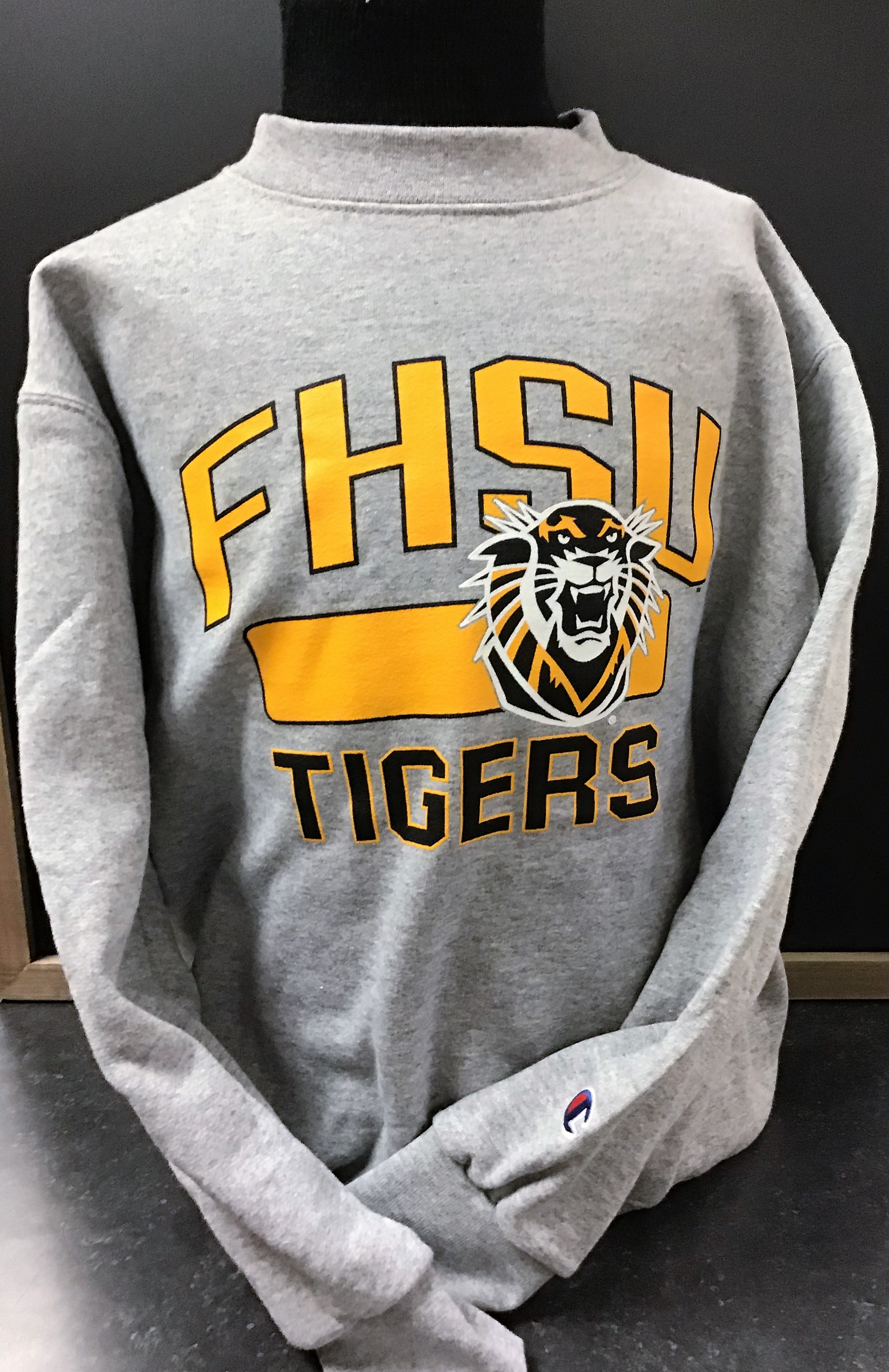 Image for the Youth Crew Sweatshirt Heather Gray with FHSU Mascot product