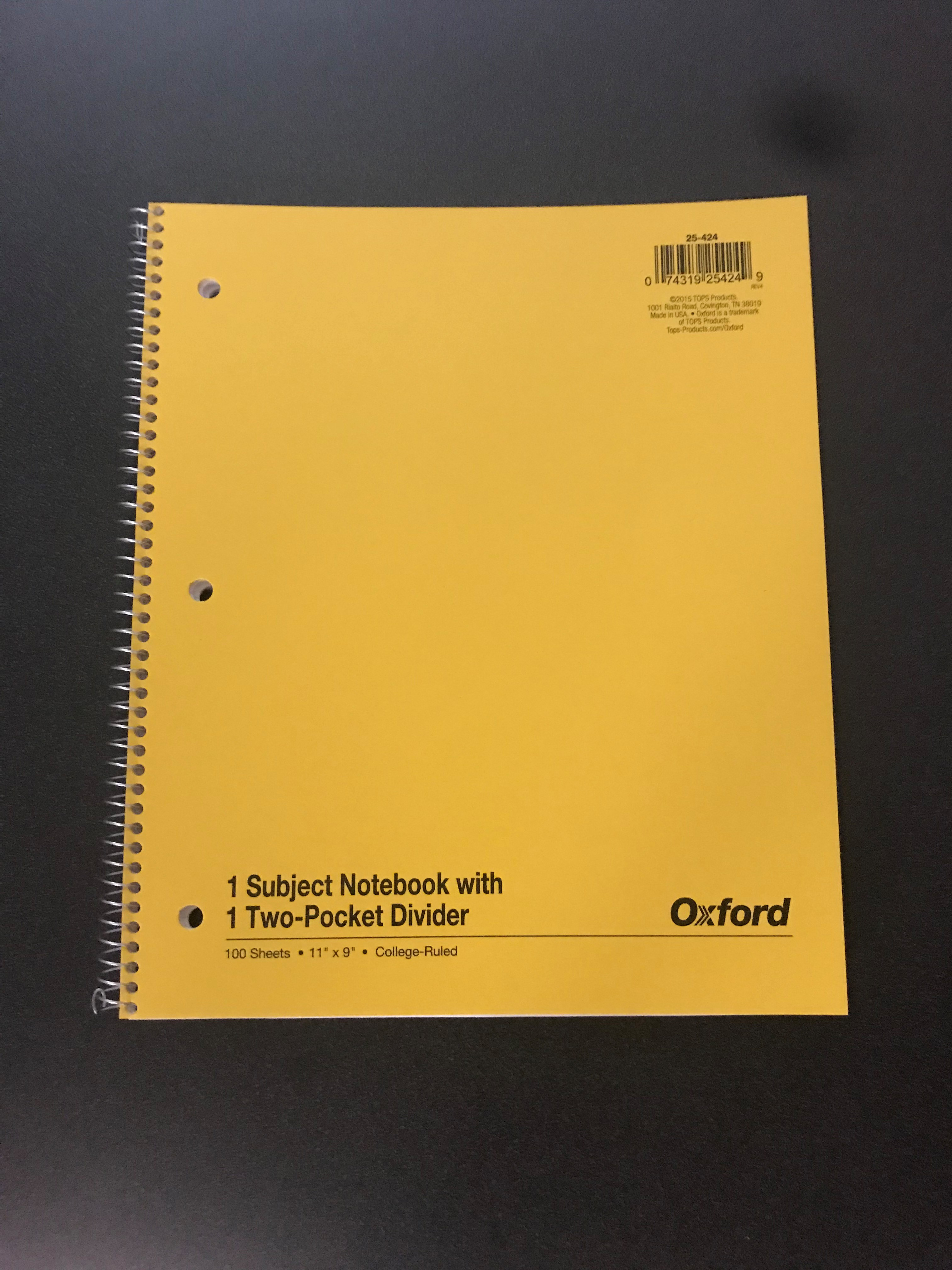 Image for the 1 Subject Notebook w/1 Two-Pocket Divider Multiple Colors product